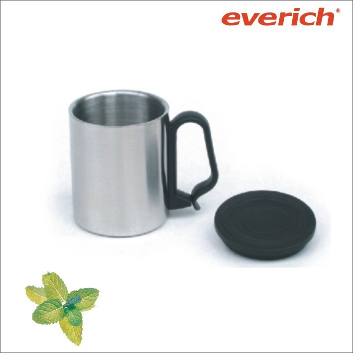 220ml double wall 18 8 stainless steel coffee cup with plastic handle