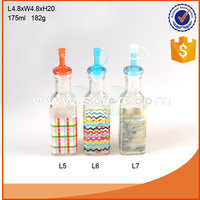 175ml kitchen ware glass bottle with decal for oil and vinegar