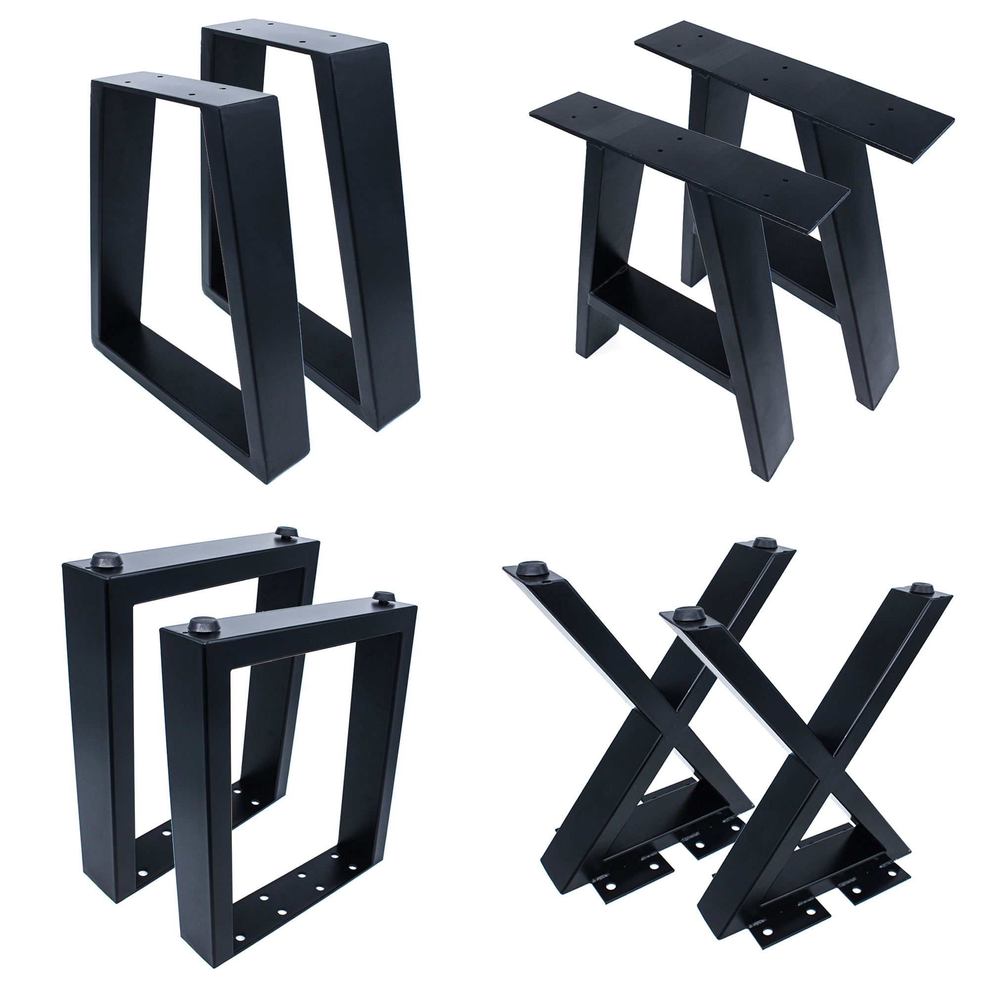 Black Wrought Industrial Modern Frame Brushed Powder Coating Square X shaped Desk Metal Cast Iron Bench Dining Coffee Table Legs