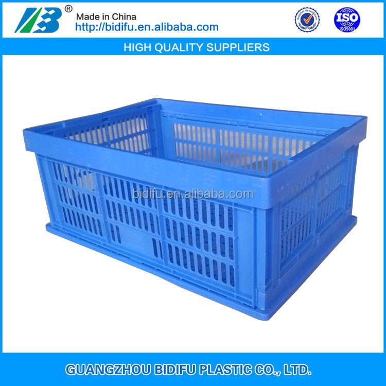 mesh blue foldable collapsible plastic crate basket for vegetable and fruit