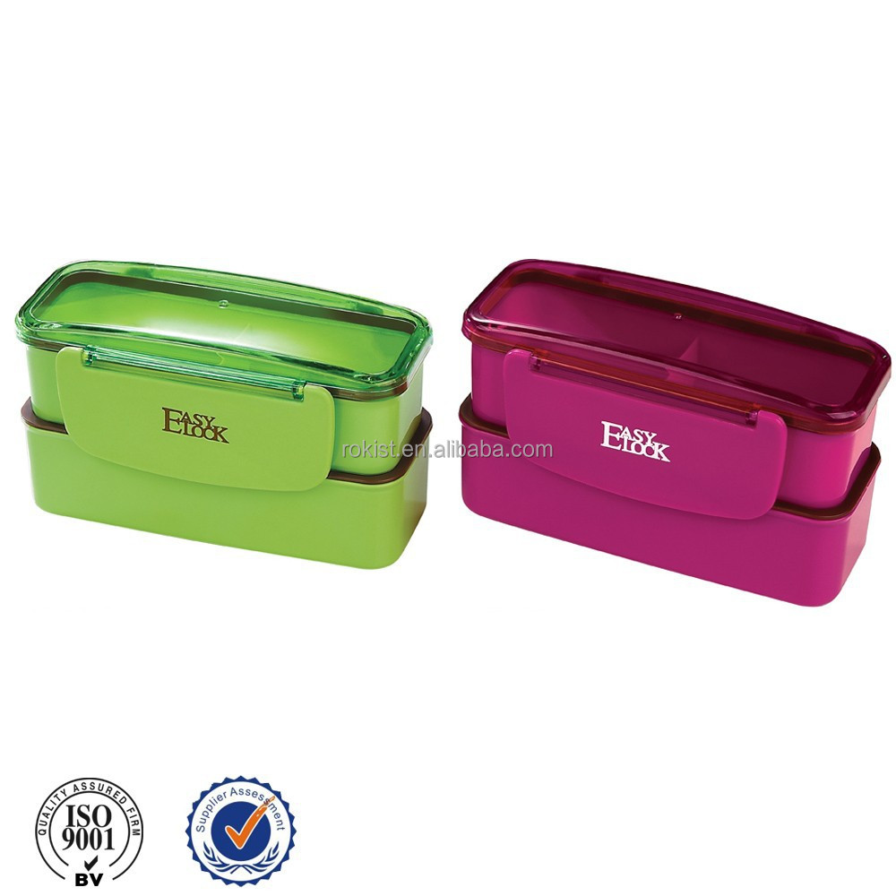 2014 green microwave safe promotion item plastic double layer lunch box