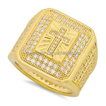 Big square shape surface aaaaa cz Micro Pave Cubic Hip Hop Cross Ring Jewelry For Men