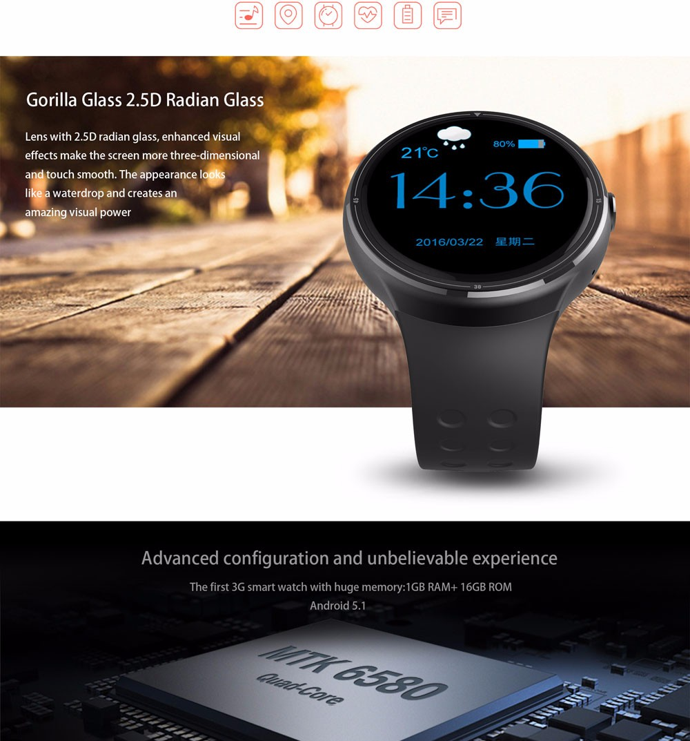 Smartwatch MTK 6580 1GB RAM 16 GB ROM z10 Android 5.1 rohs smart watch