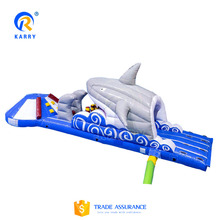 Shark attack aqua run pool inflatable water obstacle adventure games water park for sale