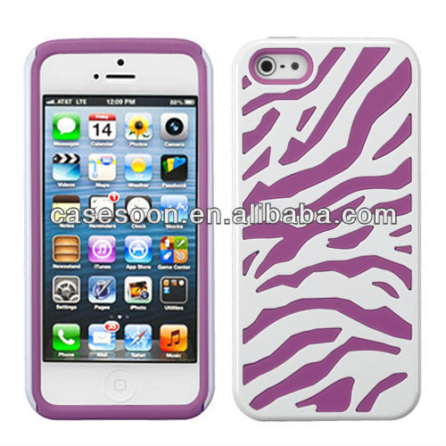 Zebra Combo Hybrid Silicone Hard Case Cover For iPhone 5 5