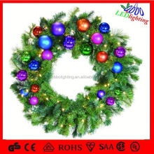 Hot Selling 6ft LED Decorated Artificial Christmas Garland with warm white lights