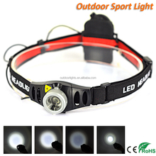Battery Powered 3W Zoom Mini LED Headlamp for Camping
