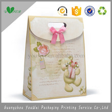wholesale custom logo gift promotion ribbon tied 250gsm art paper die cut handle paper bag