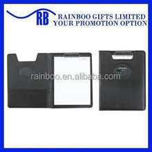 Logo printed top quality leather portfolio with calculator