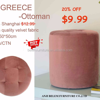 Cylinder-shaped Velvet Fabric Ottoman 50*50cm, big size, cheap whole sale promotion Pouf