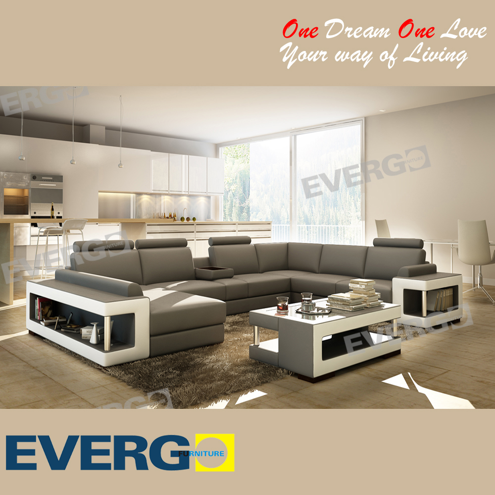 Evergo 2016 Fashion Design Home Big Sectional Sofa, Corner Sofa, Sofa Set with Coffee Table