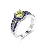 SJ LA-0115 Brass Dark Tanzania &Yellow Round CZ Prong Setting Fashion Engagement Ring