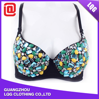 Beautiful rhinestones decorated nylon girls night club sexy bra