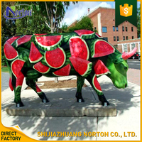 Unique product painted watermelon resin cow statue for garden decoration NT--FS263J