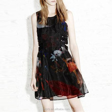 High quality fun printing sexy mini dress for girls fashion design umbrella transparent texture with sleeveless