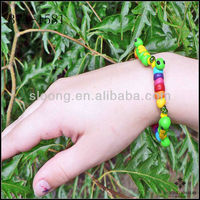Eco-friendly Rainbow Caterpillar Bracelet Green Inchworm Polymer Clay Beaded Bracelet