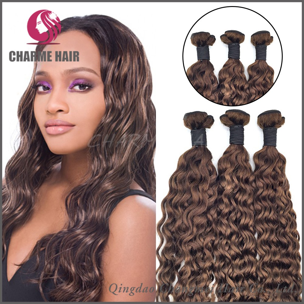 Factory Price Cambodian Human Hair Natural Brown Curly Hair weaving
