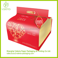 Decorative European Style Round Sweet Wed Paper Cake Box with Handle