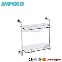 China Durable Bathroom Accessories Double Glass Shelf 93912