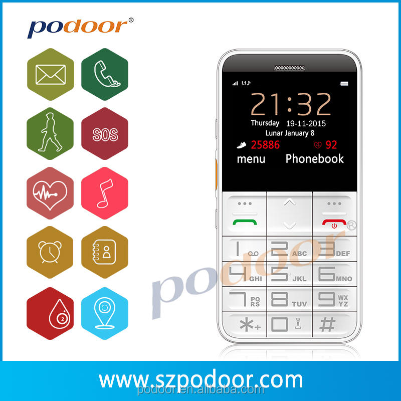 Cheap cell phone senior mobile phone with 2G /GSM/SOS /GPS/ Oxygen test/ Heartrate wholesale price cheap cell phone