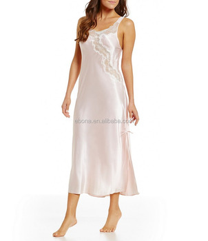 Hot Customized Sex Women's Sleepwear Mature Women Sexy Nightgown Long Night Dress Silk Sleepwear