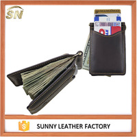 wholesale custom black leather color money clip