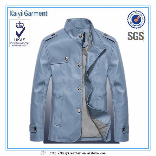 Men's stand collar leather jacket garment exporters kolkata