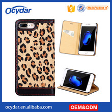 Fashion Leopard Pattern Mobile Phone Leather Wallet Case with Card Slot for iPhone 7 Plus