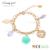 Candygirl brand flower leaf accessories pearl alloy bead new gold bracelet models fashion bangle charm women gold bracelet