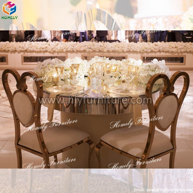 High Quality Antique stainless steel table with glass top