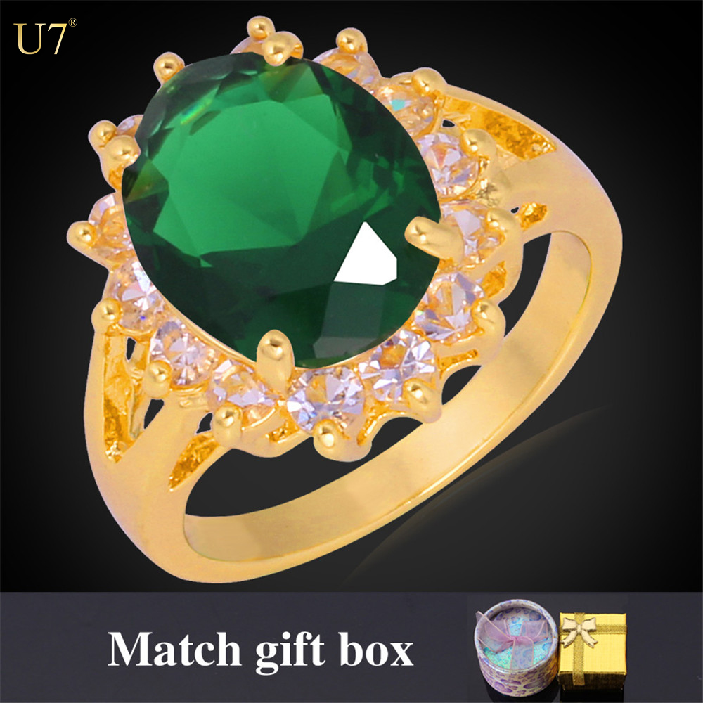U7 with gift box green/red/white/blue big ruby gemstone ring 18k gold plated wedding band ring with zirconia <strong>stone</strong>