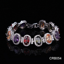 High Quality Real Gold Plating Brilliant Colorful CZ Decorated Aliexpress Jewelry, European Fashion Wedding Bracelet for Sale