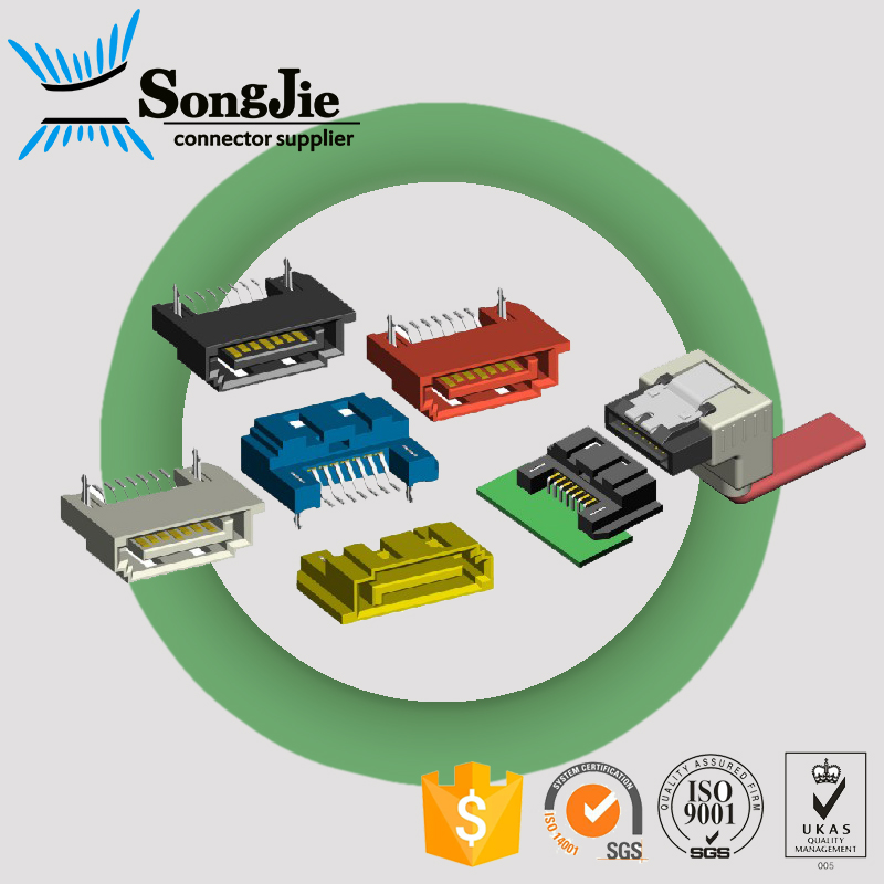 male smt right angle 7 pin + 15 pin sata connector mating/for computer hard disk drive pcb board