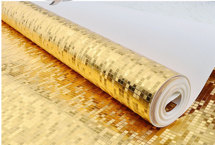 Golden Foil Silver Foil Grids Slots Wall Coating PVC Paper Sticker Wallpaper Stock 53cm*10m/roll 2Colors Wall <strong>Decoration</strong>