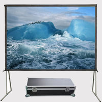 "16:9 format 100"" 3D metallic/ silver fast fold/yes portable projection screen"