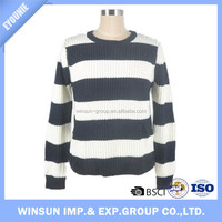 Winsun Fashion 2016 Pullover Round Collar Black And White Stripe Acrylic Women Sweater
