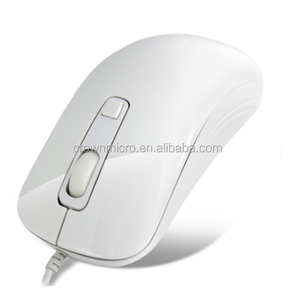 Crown Micro Wired USB Mouse White & Black for Notebook Wholesale CMM-20