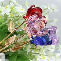 new arrival crystal rose flower wedding give away gift in metal hand R-0950