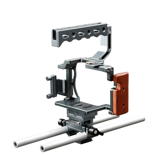 SK-A7C1 Pro Camera Aluminum Cage with Top Handle, Shoe Mount and 15mm Rods - Custom Fit for Sony A7, A7S, ASR (Mark I)