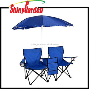 Portable Folding Picnic Double Chair With Umbrella Table Cooler Beach Camping For Outdoor