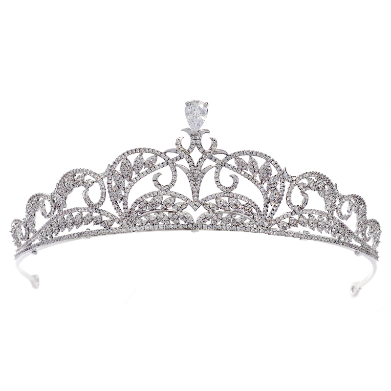 Vantage Customize 925 Silver Hair Tiara Wedding Bridal Pageant Zirconia Tiaras and <strong>Crowns</strong>