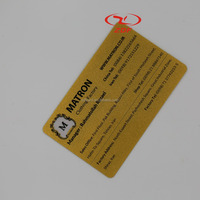 Customized transparent gold silkscreen PVC name card