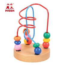 Education Kids Toys Wooden string beads toy Baby colorful wooden Minii wire Beads maze game