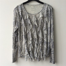 Fancy Ladies' 100% Silk Knitted Mesh Front Panels Decorated Knitted T Shirt Top