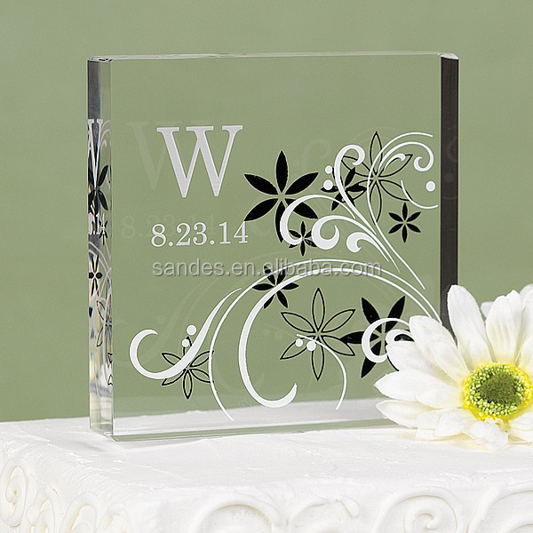 Hot Selling Square Clear Acrylic Wedding Cake Topper with Flower Cover
