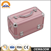 Hot sale Aluminum portable Sparkly Pink Hearts fashionable makeup vanity box with lock