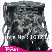 100% Virgin Remy Human Hair clip in extensions for african american hair