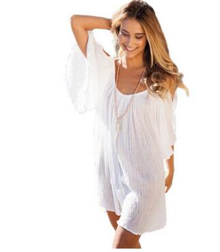 Women Strapless Off Shoulder Dresses Crochet White Sexy Casual Loose Chiffon Sheer Summer Beach Mini Dress Vestidos