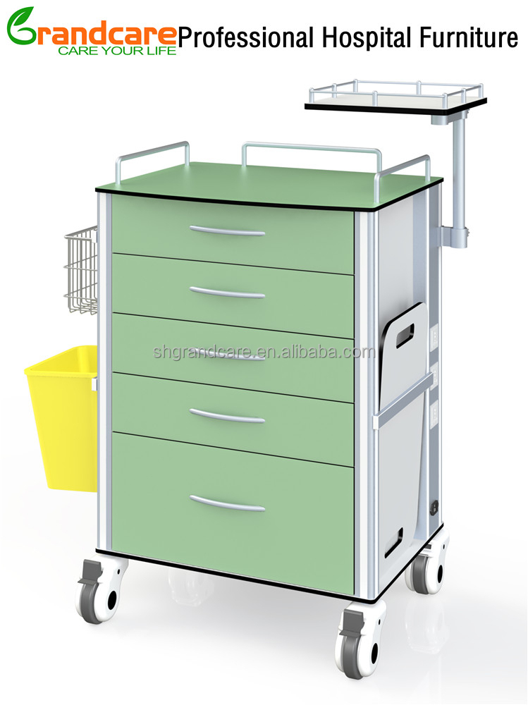 G-TA007 Medical Anesthesia Trolley with trash can and instrument tray