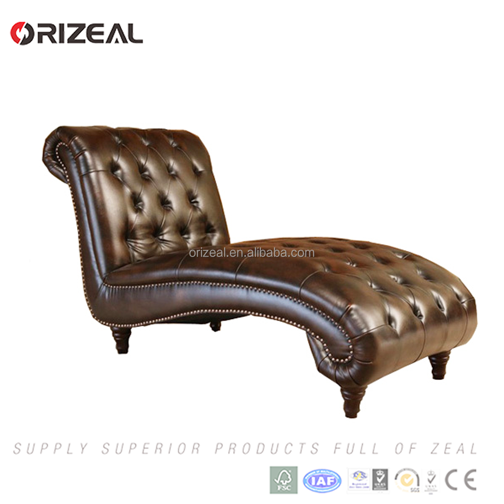Promotions price modern classic brown leather sofa chaise American lounge chair Special offer